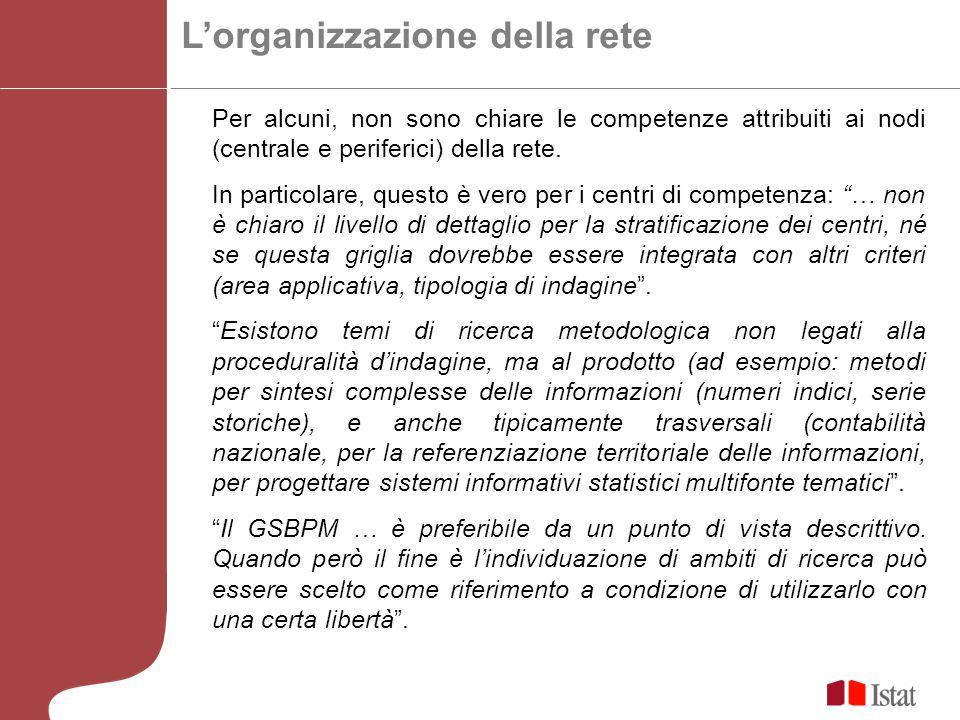 Lorganizzazione della rete Per alcuni, non sono chiare le competenze attribuiti ai nodi (centrale e periferici) della rete.
