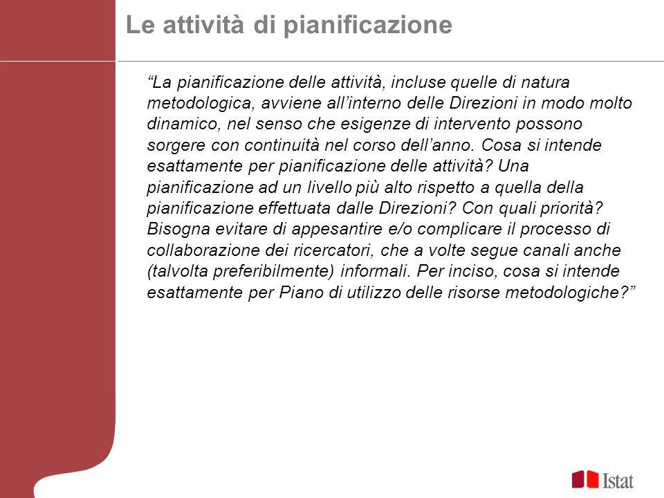 Le attività di pianificazione La pianificazione delle attività, incluse quelle di natura metodologica, avviene allinterno delle Direzioni in modo molto dinamico, nel senso che esigenze di intervento possono sorgere con continuità nel corso dellanno.