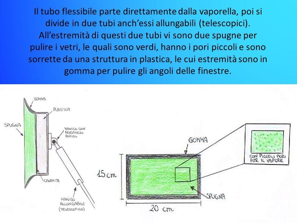 Il tubo flessibile parte direttamente dalla vaporella, poi si divide in due tubi anchessi allungabili (telescopici). Allestremità di questi due tubi v
