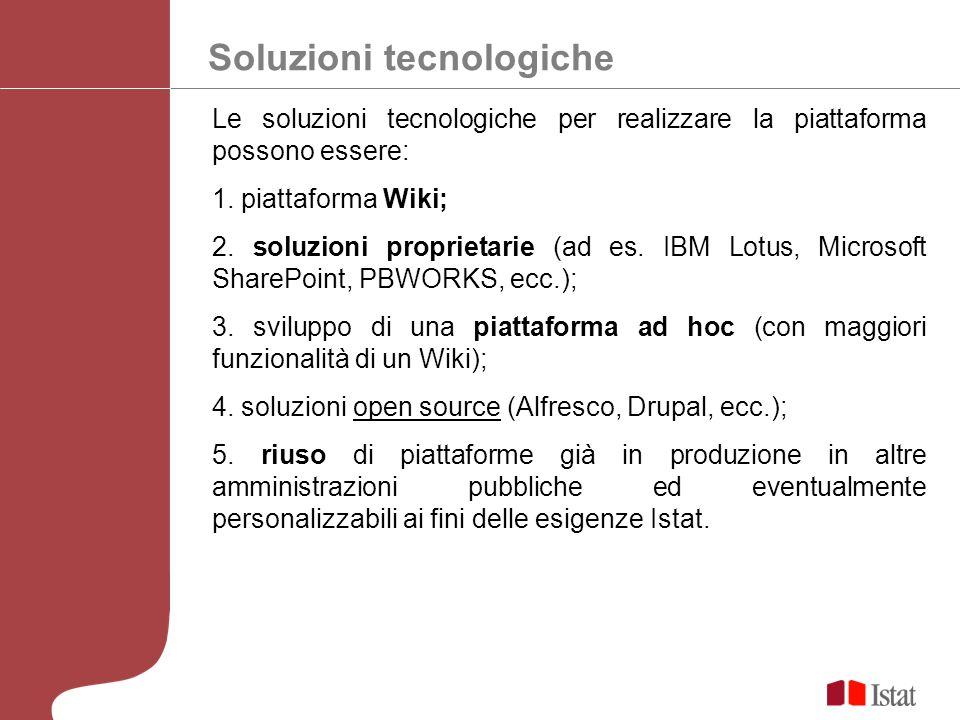 Soluzioni tecnologiche Le soluzioni tecnologiche per realizzare la piattaforma possono essere: 1.