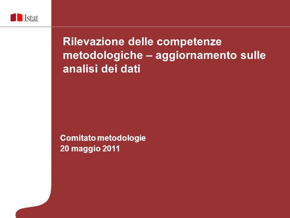 Comitato metodologie 20 maggio 2011 Rilevazione delle competenze metodologiche – aggiornamento sulle analisi dei dati