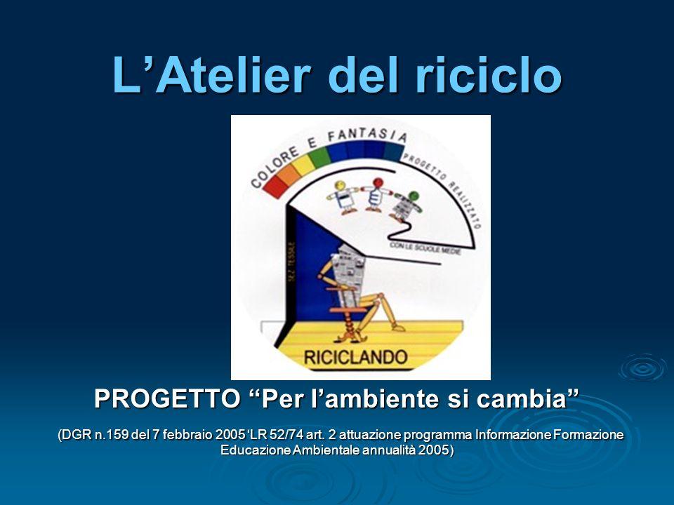 LAtelier del riciclo PROGETTO Per lambiente si cambia (DGR n.159 del 7 febbraio 2005 LR 52/74 art.