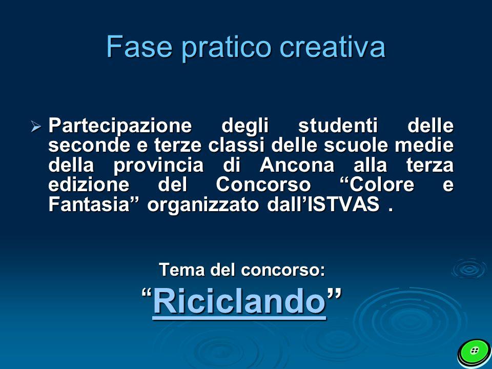 Fase pratico creativa Partecipazione degli studenti delle seconde e terze classi delle scuole medie della provincia di Ancona alla terza edizione del Concorso Colore e Fantasia organizzato dallISTVAS.