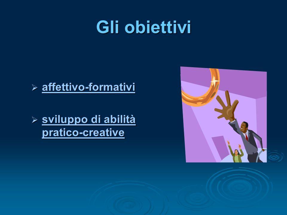 Gli obiettivi affettivo-formativi affettivo-formativi affettivo-formativi sviluppo di abilità pratico-creative sviluppo di abilità pratico-creative sviluppo di abilità pratico-creative sviluppo di abilità pratico-creative