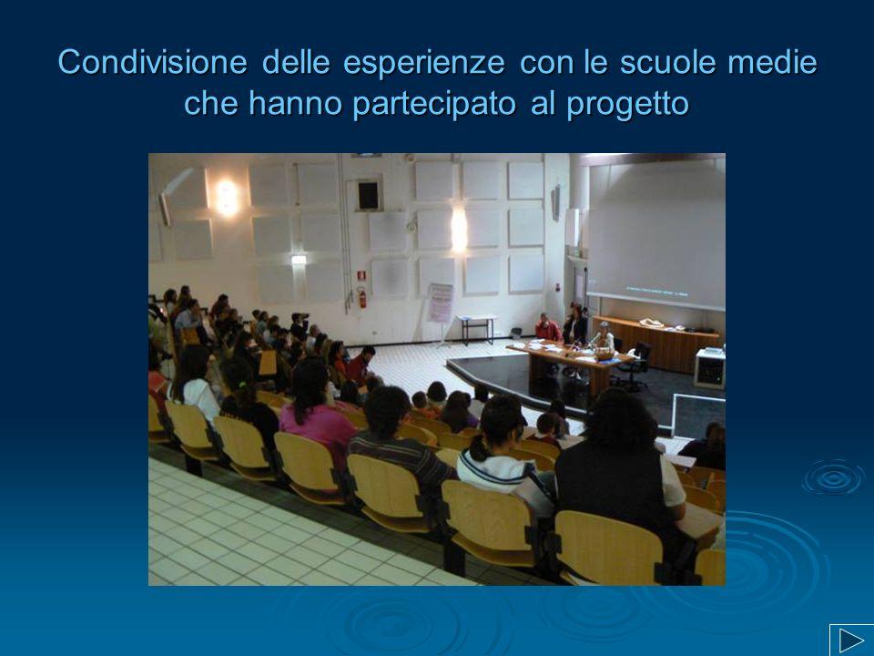 Condivisione delle esperienze con le scuole medie che hanno partecipato al progetto