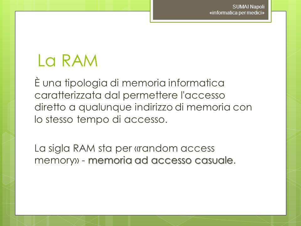 La RAM È una tipologia di memoria informatica caratterizzata dal permettere l'accesso diretto a qualunque indirizzo di memoria con lo stesso tempo di