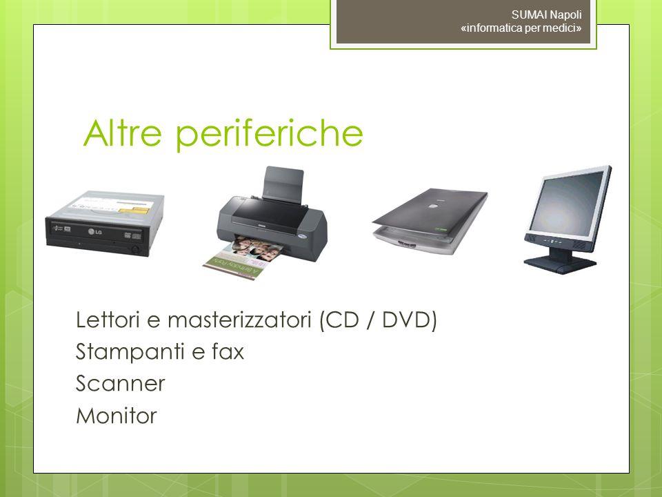 Altre periferiche Lettori e masterizzatori (CD / DVD) Stampanti e fax Scanner Monitor SUMAI Napoli «informatica per medici»