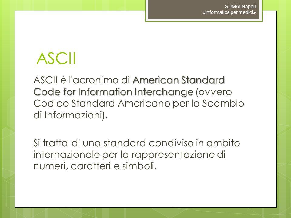 ASCII American Standard Code for Information Interchange ASCII è l'acronimo di American Standard Code for Information Interchange (ovvero Codice Stand