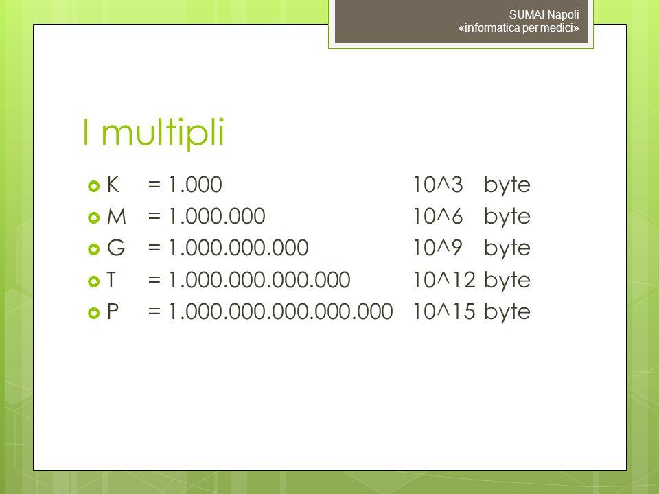 I multipli K= 1.00010^3 byte M= 1.000.00010^6 byte G= 1.000.000.00010^9 byte T= 1.000.000.000.00010^12 byte P = 1.000.000.000.000.00010^15 byte SUMAI