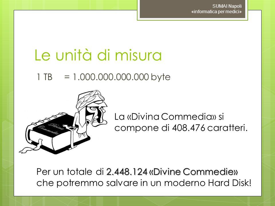 Le unità di misura 1 TB = 1.000.000.000.000 byte SUMAI Napoli «informatica per medici» La «Divina Commedia» si compone di 408.476 caratteri. 2.448.124