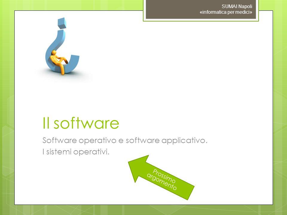 Prossimo argomento Il software Software operativo e software applicativo. I sistemi operativi. SUMAI Napoli «informatica per medici»