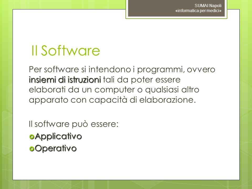 Il Software insiemi di istruzioni Per software si intendono i programmi, ovvero insiemi di istruzioni tali da poter essere elaborati da un computer o