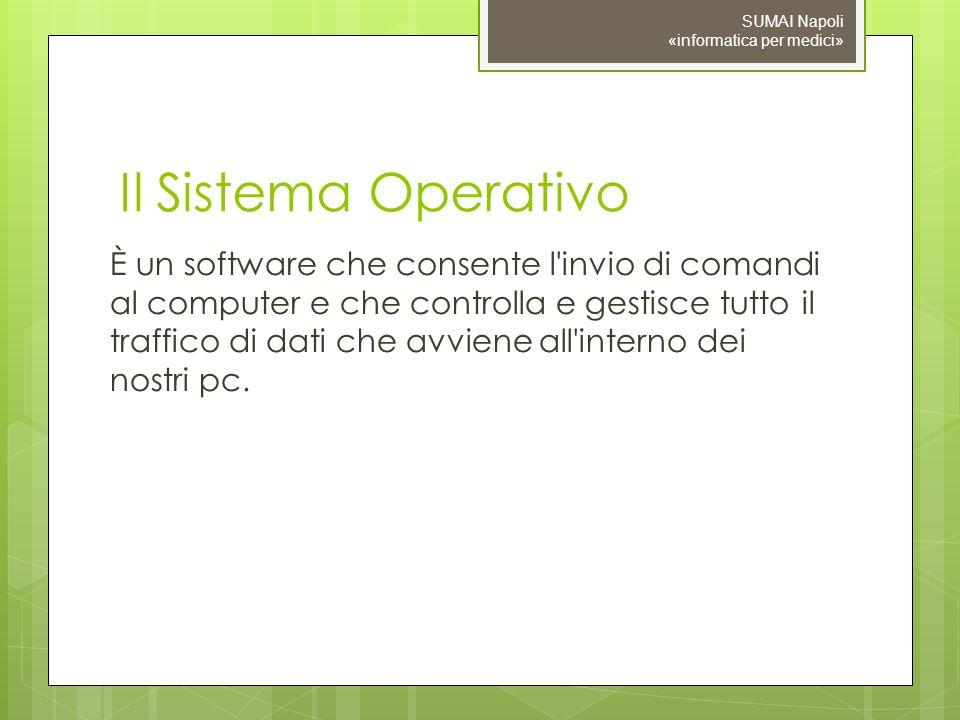 Il Sistema Operativo È un software che consente l'invio di comandi al computer e che controlla e gestisce tutto il traffico di dati che avviene all'in
