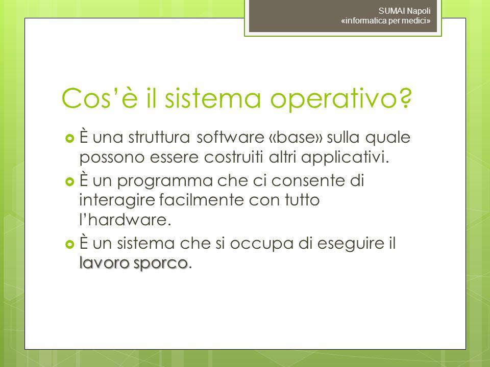 Cosè il sistema operativo? È una struttura software «base» sulla quale possono essere costruiti altri applicativi. È un programma che ci consente di i