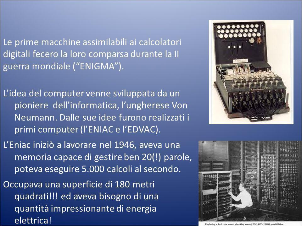 Le prime macchine assimilabili ai calcolatori digitali fecero la loro comparsa durante la II guerra mondiale (ENIGMA). Lidea del computer venne svilup