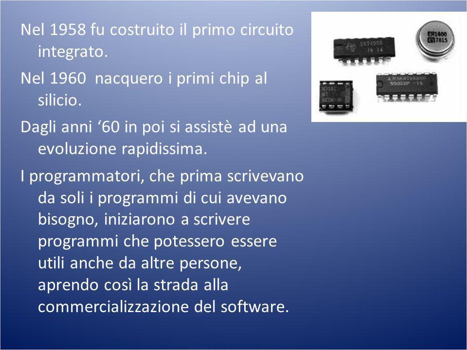 Nel 1967 comparve il primo Floppy Disk, nel 1970 INTEL produsse la prima CPU (4004).