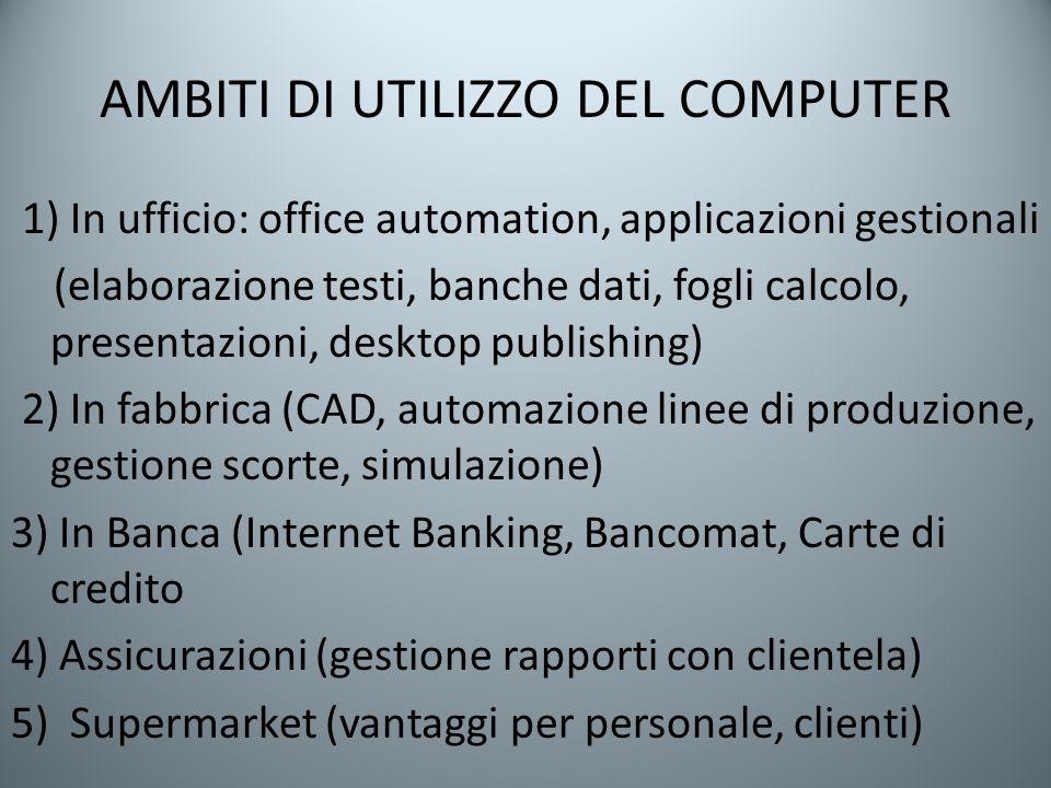 AMBITI DI UTILIZZO DEL COMPUTER 1) In ufficio: office automation, applicazioni gestionali (elaborazione testi, banche dati, fogli calcolo, presentazio