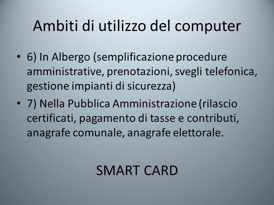Ambiti di utilizzo del computer 6) In Albergo (semplificazione procedure amministrative, prenotazioni, svegli telefonica, gestione impianti di sicurez