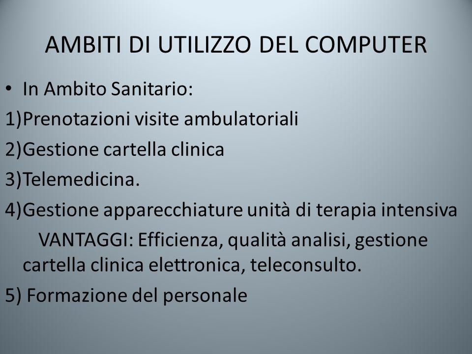 AMBITI DI UTILIZZO DEL COMPUTER In Ambito Sanitario: 1)Prenotazioni visite ambulatoriali 2)Gestione cartella clinica 3)Telemedicina. 4)Gestione appare