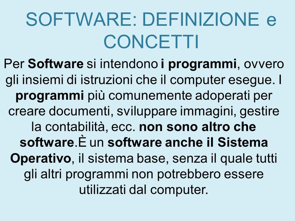 SOFTWARE: DEFINIZIONE e CONCETTI Per Software si intendono i programmi, ovvero gli insiemi di istruzioni che il computer esegue. I programmi più comun