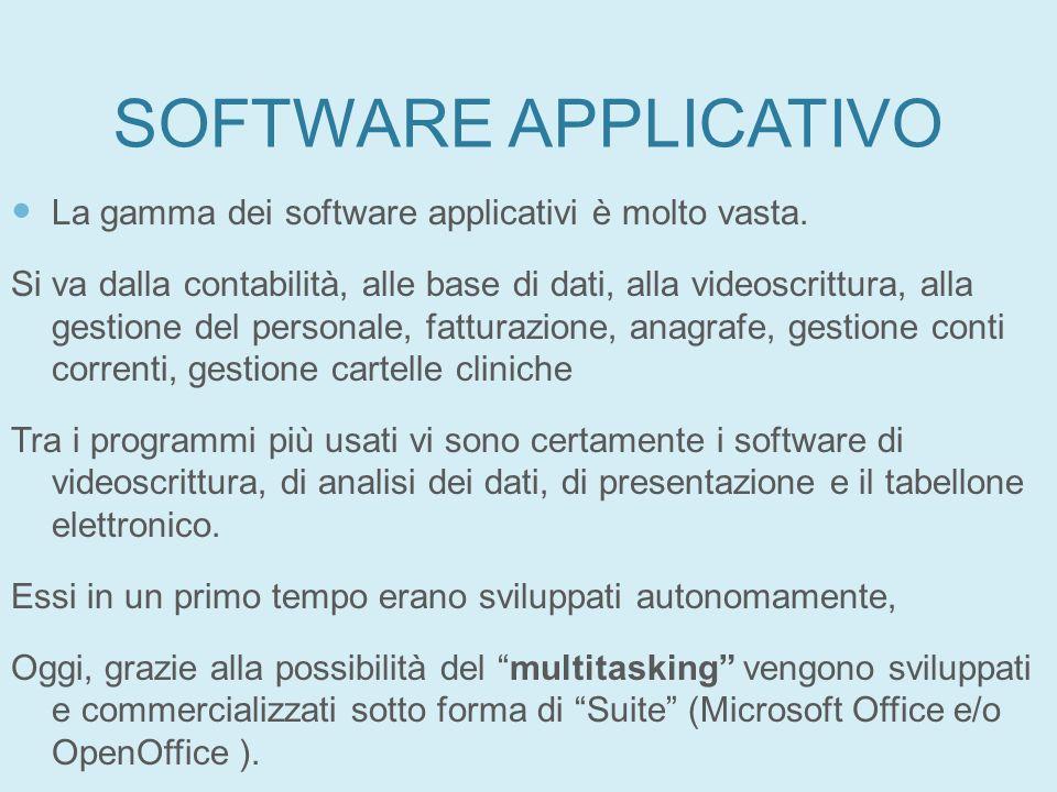 SOFTWARE APPLICATIVO La gamma dei software applicativi è molto vasta. Si va dalla contabilità, alle base di dati, alla videoscrittura, alla gestione d