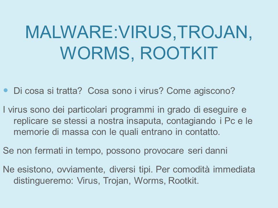 MALWARE:VIRUS,TROJAN, WORMS, ROOTKIT Di cosa si tratta? Cosa sono i virus? Come agiscono? I virus sono dei particolari programmi in grado di eseguire