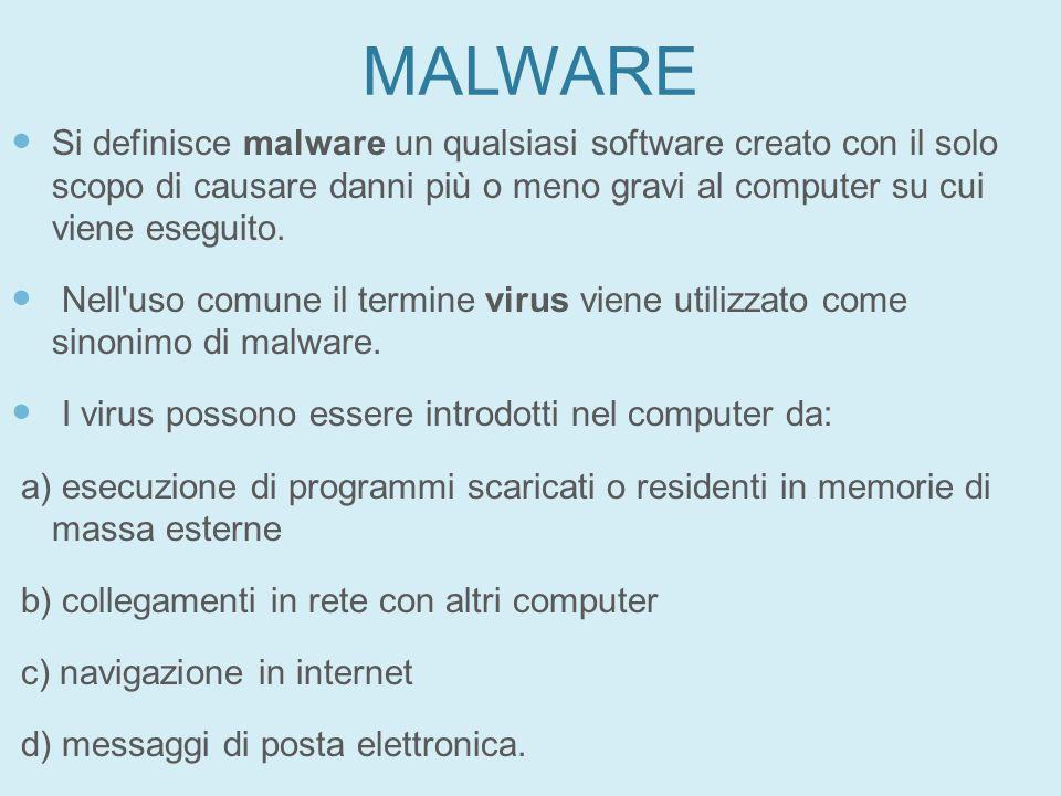 MALWARE Si definisce malware un qualsiasi software creato con il solo scopo di causare danni più o meno gravi al computer su cui viene eseguito. Nell'
