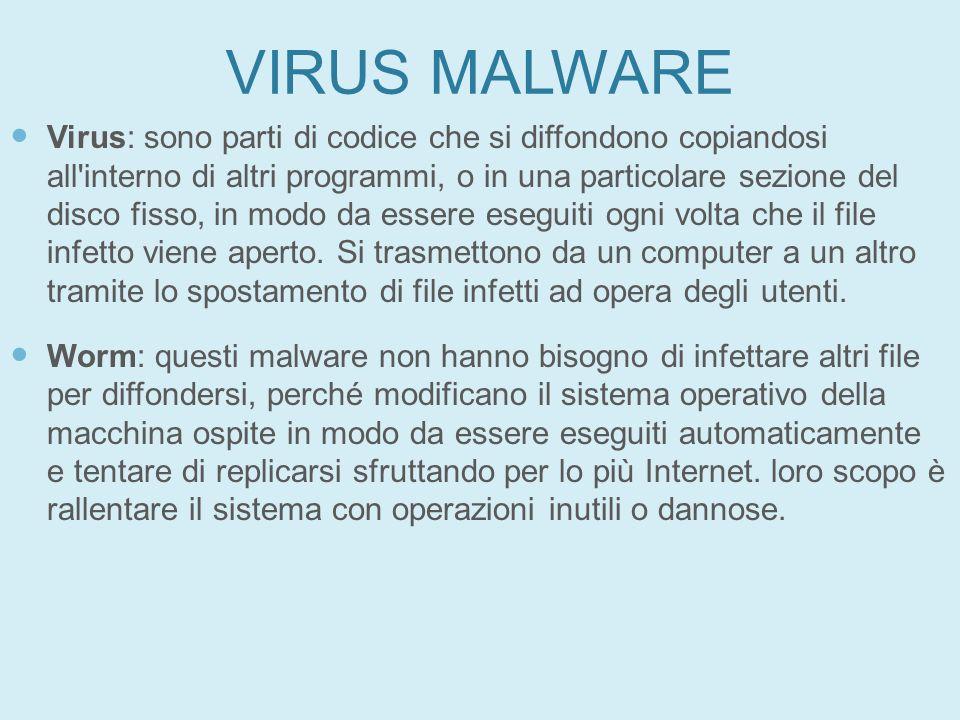 VIRUS MALWARE Virus: sono parti di codice che si diffondono copiandosi all'interno di altri programmi, o in una particolare sezione del disco fisso, i