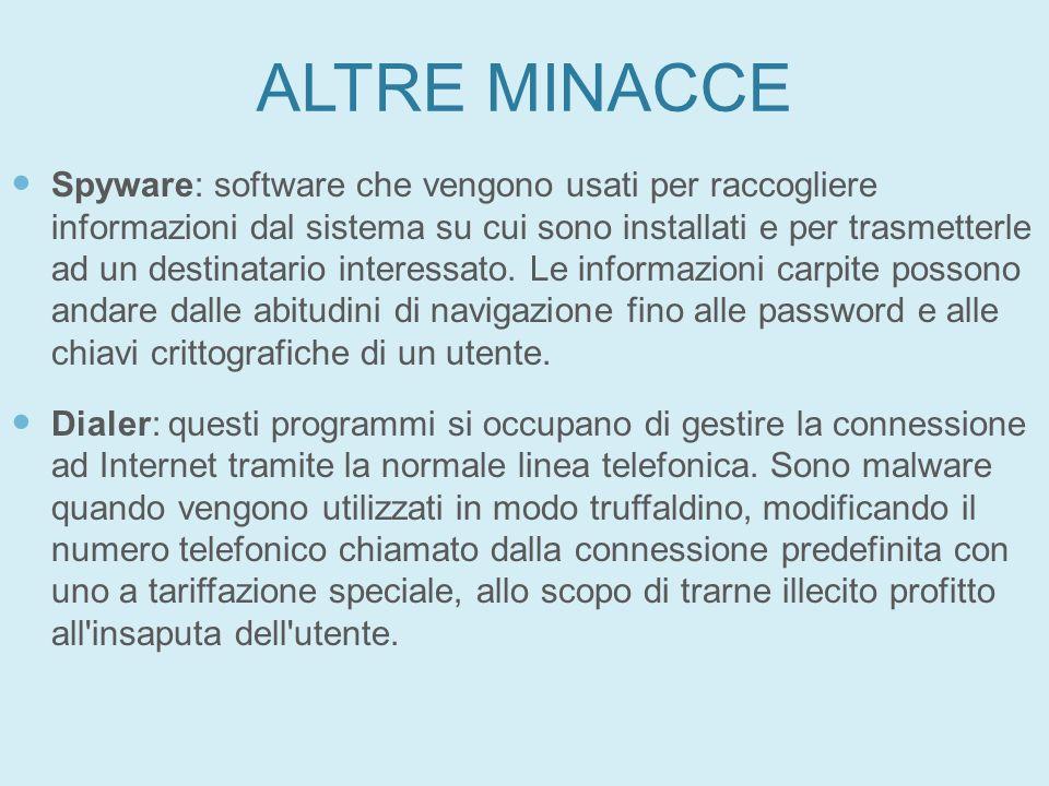 ALTRE MINACCE Spyware: software che vengono usati per raccogliere informazioni dal sistema su cui sono installati e per trasmetterle ad un destinatari
