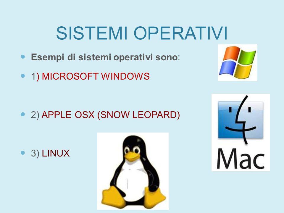 SISTEMI OPERATIVI Esempi di sistemi operativi sono: 1) MICROSOFT WINDOWS 2) APPLE OSX (SNOW LEOPARD) 3) LINUX