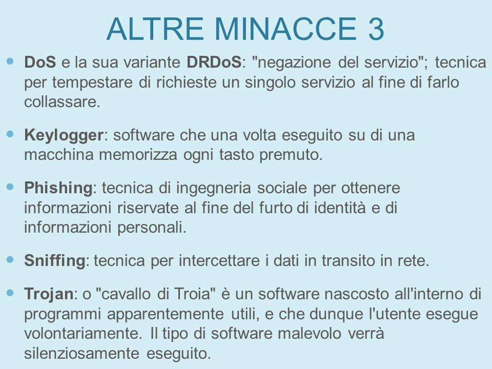 ALTRE MINACCE 3 DoS e la sua variante DRDoS: