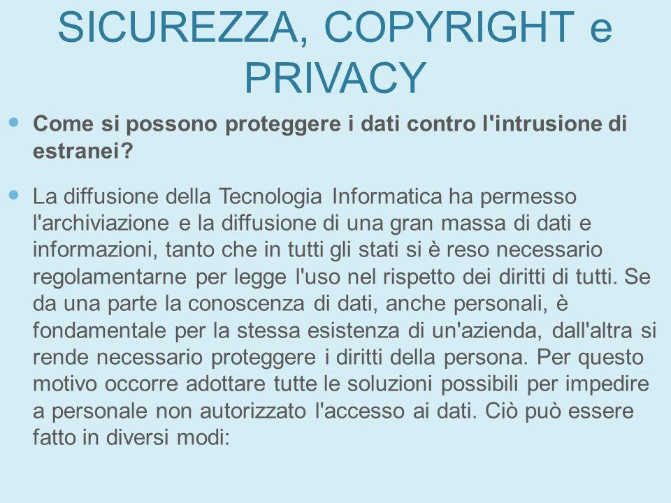 SICUREZZA, COPYRIGHT e PRIVACY Come si possono proteggere i dati contro l'intrusione di estranei? La diffusione della Tecnologia Informatica ha permes