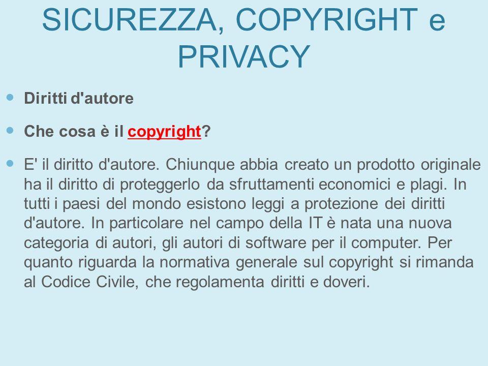 SICUREZZA, COPYRIGHT e PRIVACY Diritti d'autore Che cosa è il copyright? E' il diritto d'autore. Chiunque abbia creato un prodotto originale ha il dir