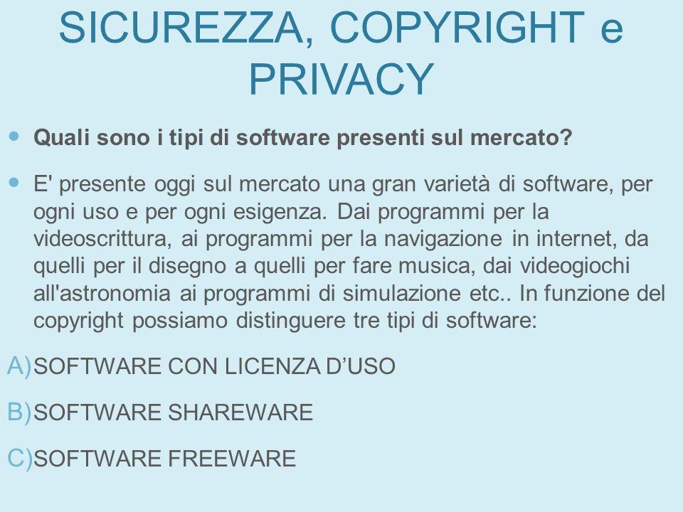 SICUREZZA, COPYRIGHT e PRIVACY Quali sono i tipi di software presenti sul mercato? E' presente oggi sul mercato una gran varietà di software, per ogni