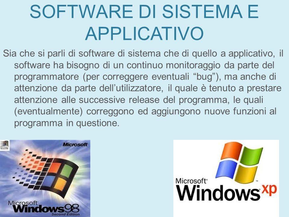 SOFTWARE DI SISTEMA E APPLICATIVO Sia che si parli di software di sistema che di quello a applicativo, il software ha bisogno di un continuo monitorag