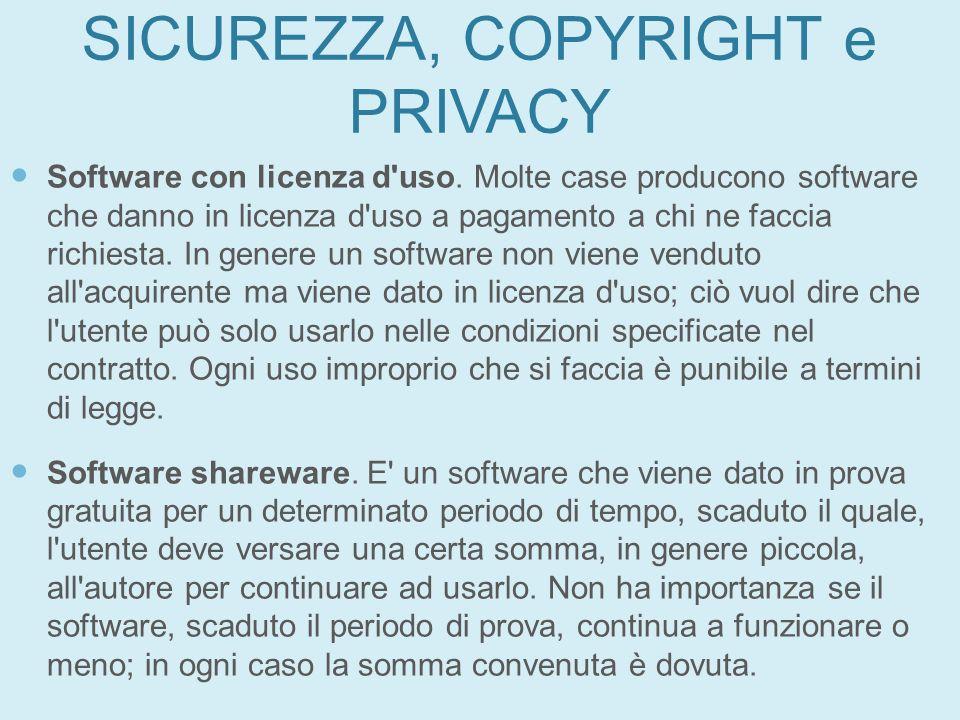 SICUREZZA, COPYRIGHT e PRIVACY Software con licenza d'uso. Molte case producono software che danno in licenza d'uso a pagamento a chi ne faccia richie