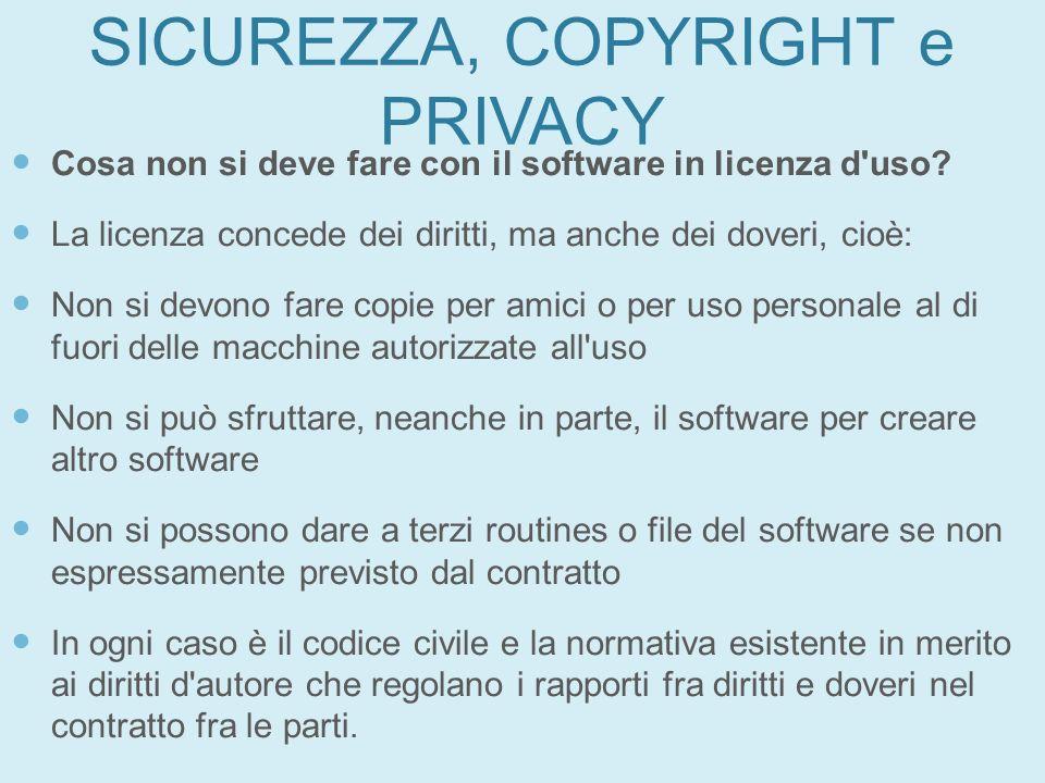 SICUREZZA, COPYRIGHT e PRIVACY Cosa non si deve fare con il software in licenza d'uso? La licenza concede dei diritti, ma anche dei doveri, cioè: Non