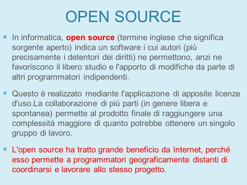 OPEN SOURCE In informatica, open source (termine inglese che significa sorgente aperto) indica un software i cui autori (più precisamente i detentori