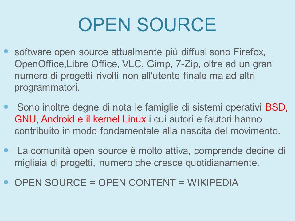 OPEN SOURCE software open source attualmente più diffusi sono Firefox, OpenOffice,Libre Office, VLC, Gimp, 7-Zip, oltre ad un gran numero di progetti