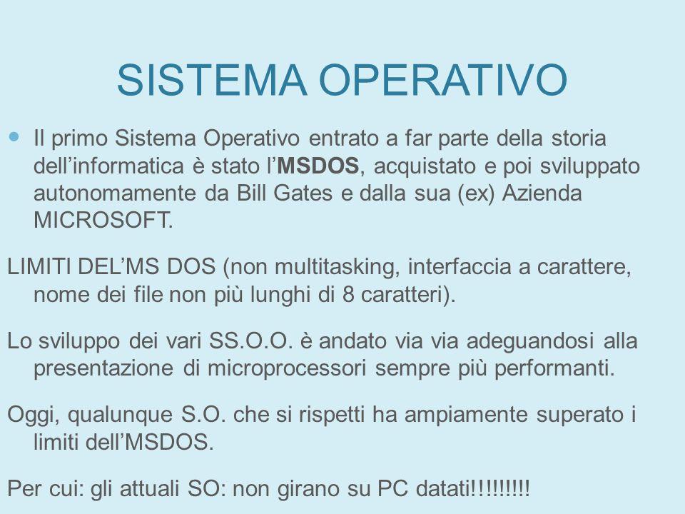 SISTEMA OPERATIVO Il primo Sistema Operativo entrato a far parte della storia dellinformatica è stato lMSDOS, acquistato e poi sviluppato autonomament