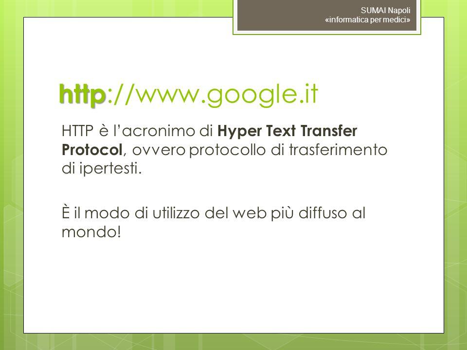 http http ://www.google.it HTTP è lacronimo di Hyper Text Transfer Protocol, ovvero protocollo di trasferimento di ipertesti.