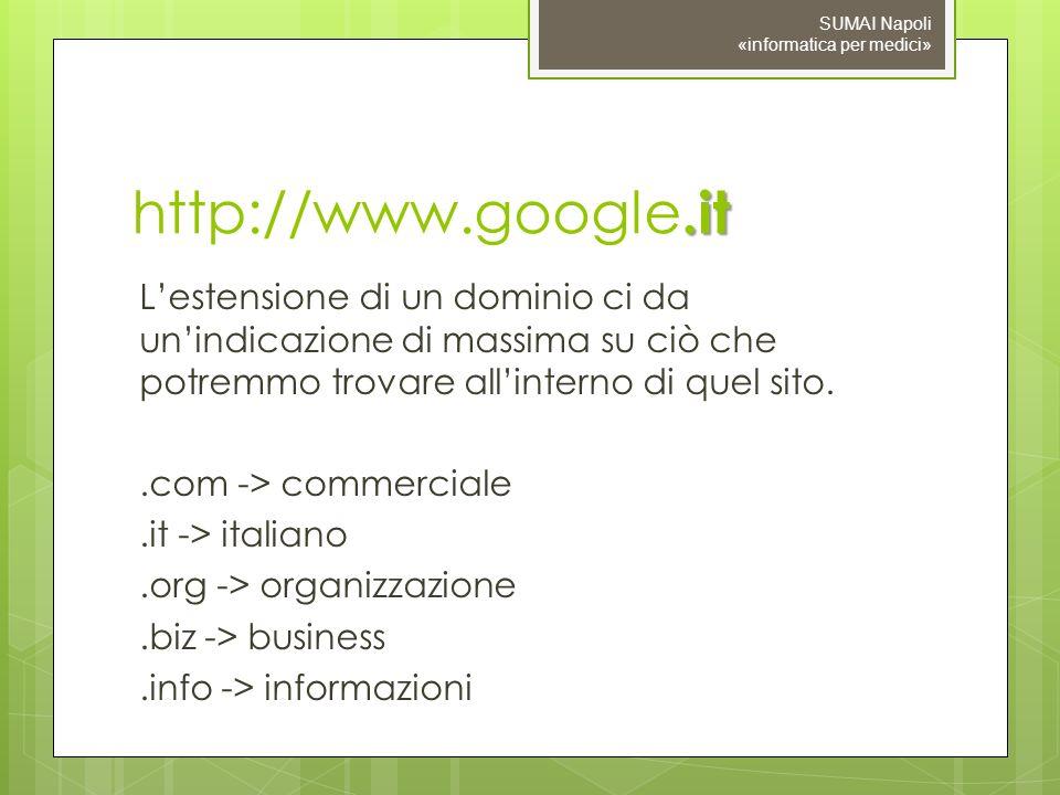 .it http://www.google.it Lestensione di un dominio ci da unindicazione di massima su ciò che potremmo trovare allinterno di quel sito..com -> commerciale.it -> italiano.org -> organizzazione.biz -> business.info -> informazioni SUMAI Napoli «informatica per medici»