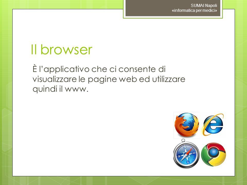 Il browser È lapplicativo che ci consente di visualizzare le pagine web ed utilizzare quindi il www.