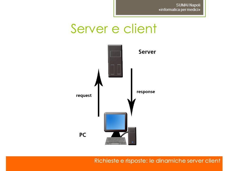 Server e client Richieste e risposte: le dinamiche server client SUMAI Napoli «informatica per medici»