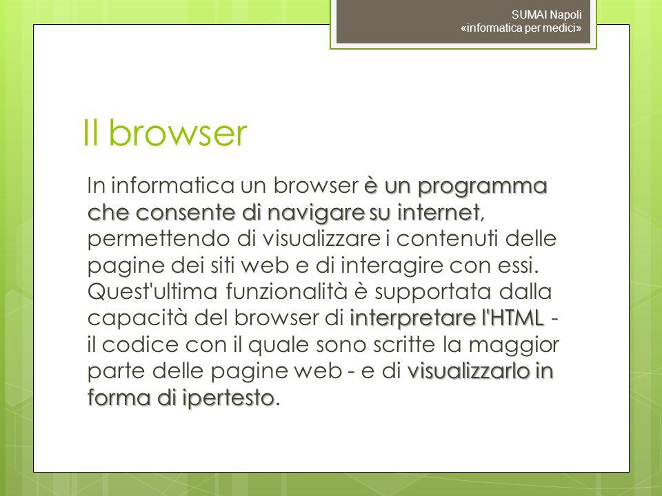 Il browser è un programma che consente di navigare su internet interpretare l HTML visualizzarlo in forma di ipertesto In informatica un browser è un programma che consente di navigare su internet, permettendo di visualizzare i contenuti delle pagine dei siti web e di interagire con essi.