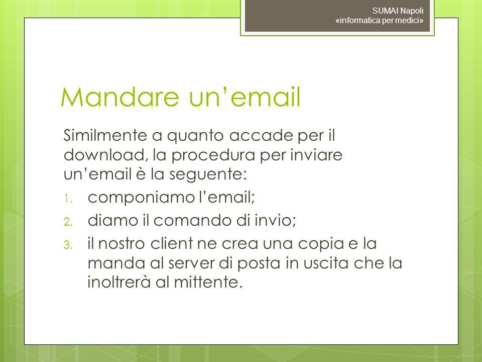 Mandare unemail Similmente a quanto accade per il download, la procedura per inviare unemail è la seguente: 1.