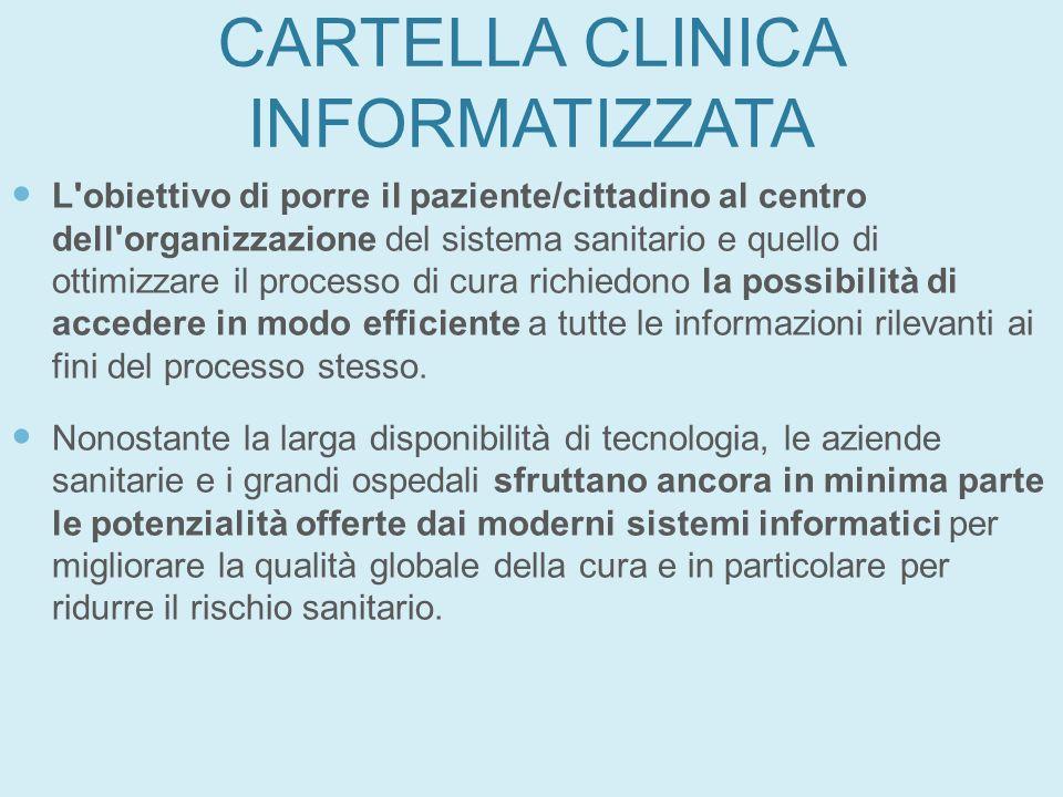 CARTELLA CLINICA INFORMATIZZATA L'obiettivo di porre il paziente/cittadino al centro dell'organizzazione del sistema sanitario e quello di ottimizzare