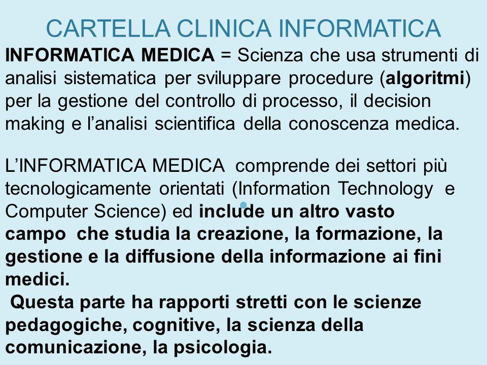 CARTELLA CLINICA INFORMATICA INFORMATICA MEDICA = Scienza che usa strumenti di analisi sistematica per sviluppare procedure (algoritmi) per la gestion