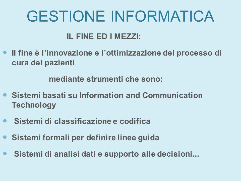 GESTIONE INFORMATICA IL FINE ED I MEZZI: Il fine è linnovazione e lottimizzazione del processo di cura dei pazienti mediante strumenti che sono: Siste