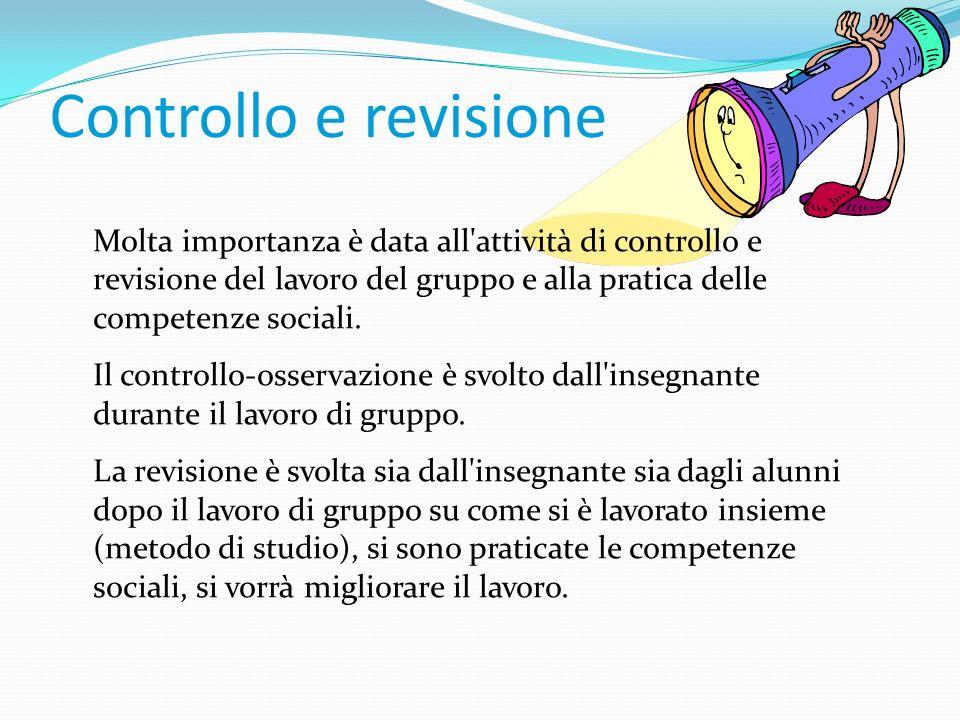Controllo e revisione Molta importanza è data all'attività di controllo e revisione del lavoro del gruppo e alla pratica delle competenze sociali. Il
